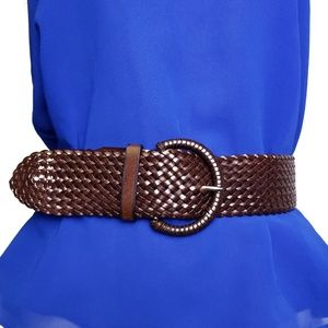 Banana Republic brown faux leather braided belt S